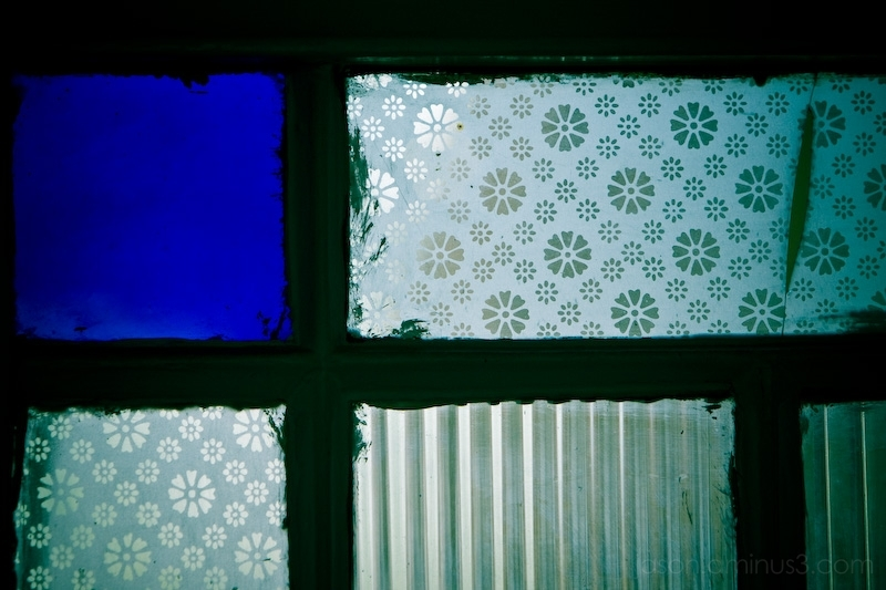 blue pattern glass