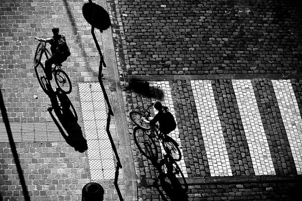 street bike shadow art b-w