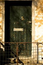 grunge green door