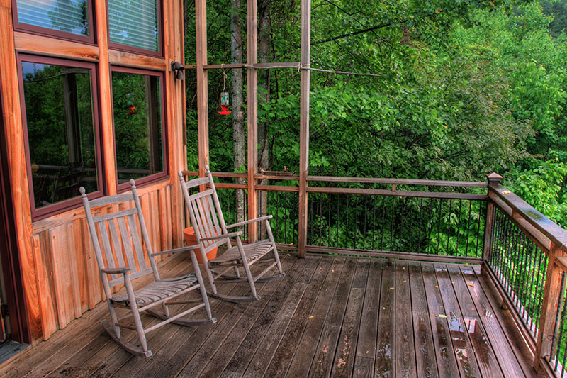 relaxing mountain porch