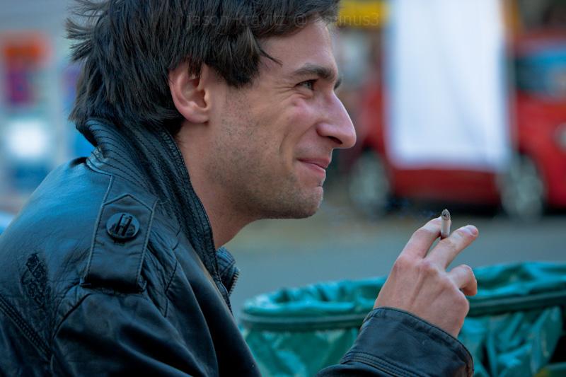 smoking street man