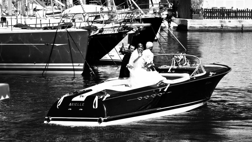 bride in a boat