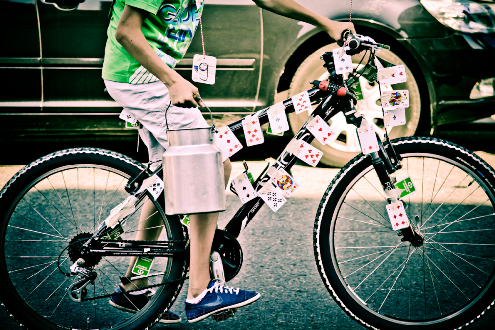 cards on a bike