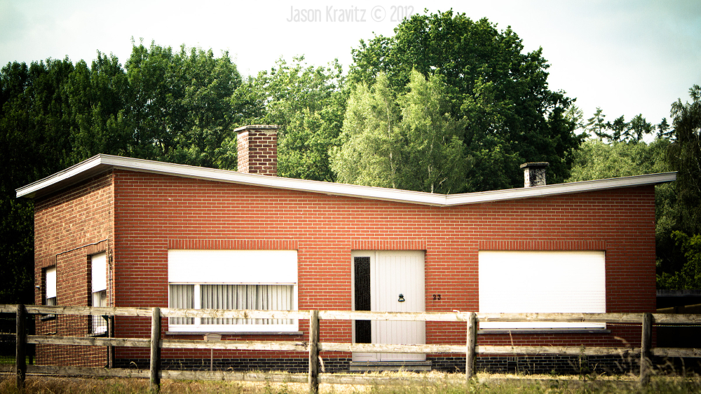 slanted roof house