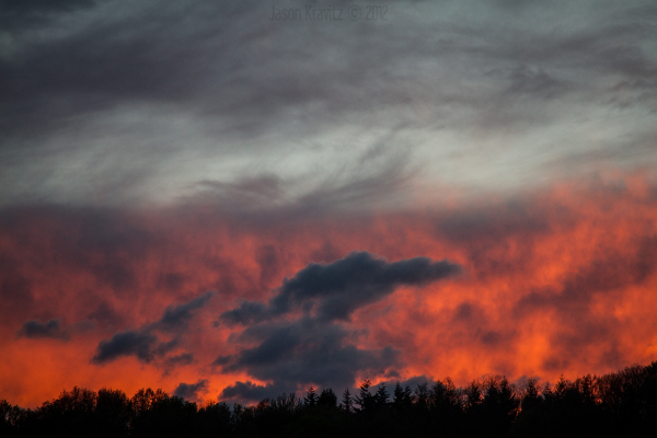 red orange fire sky
