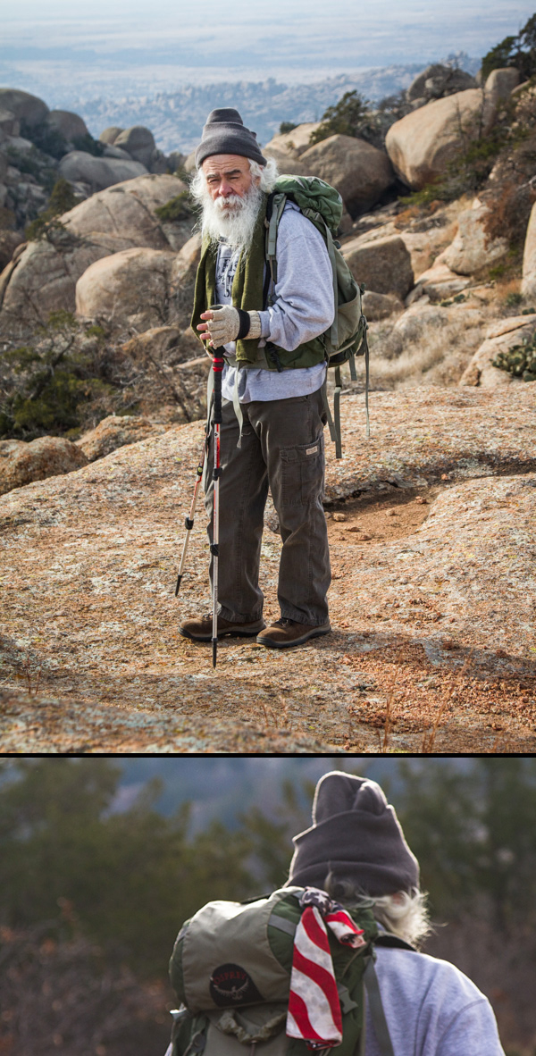 hiker in wichita mountains