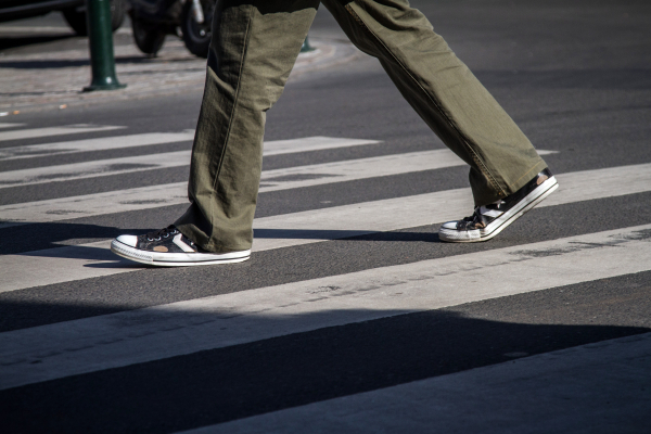 Converse in the crosswalk