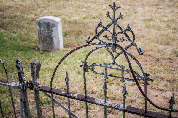 headstone and fence