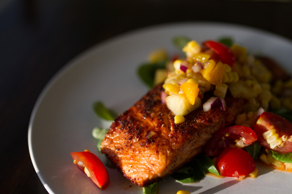 blackened salmon with mango and corn salsa