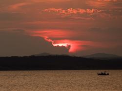lake lawtonka sunset boat