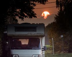 big sunset over my RV