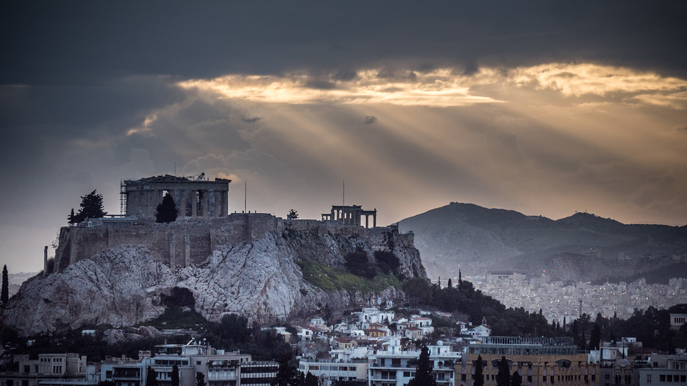 acropolis athens light rays