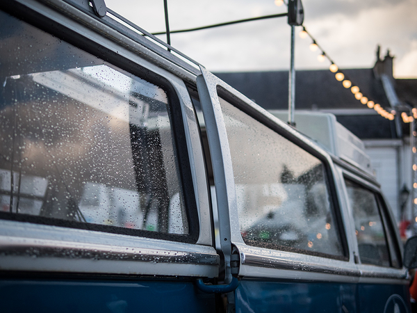 rain drops on a Volkswagen van
