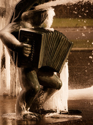 frog playing accordian