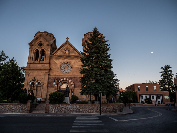 full moon and saint francis cathedral