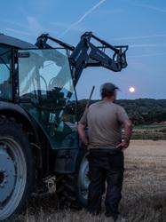 full moon rising farm