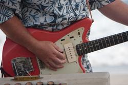 surf rock red fender guitar