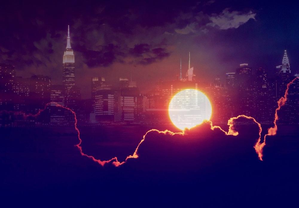 new york sunset night