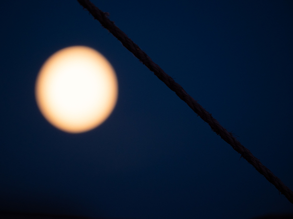 full moon and a wire