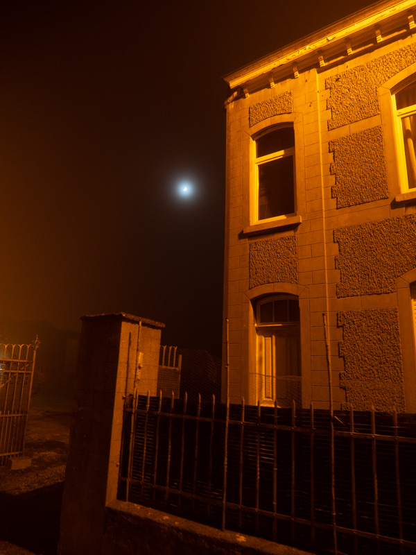 old building by the moon