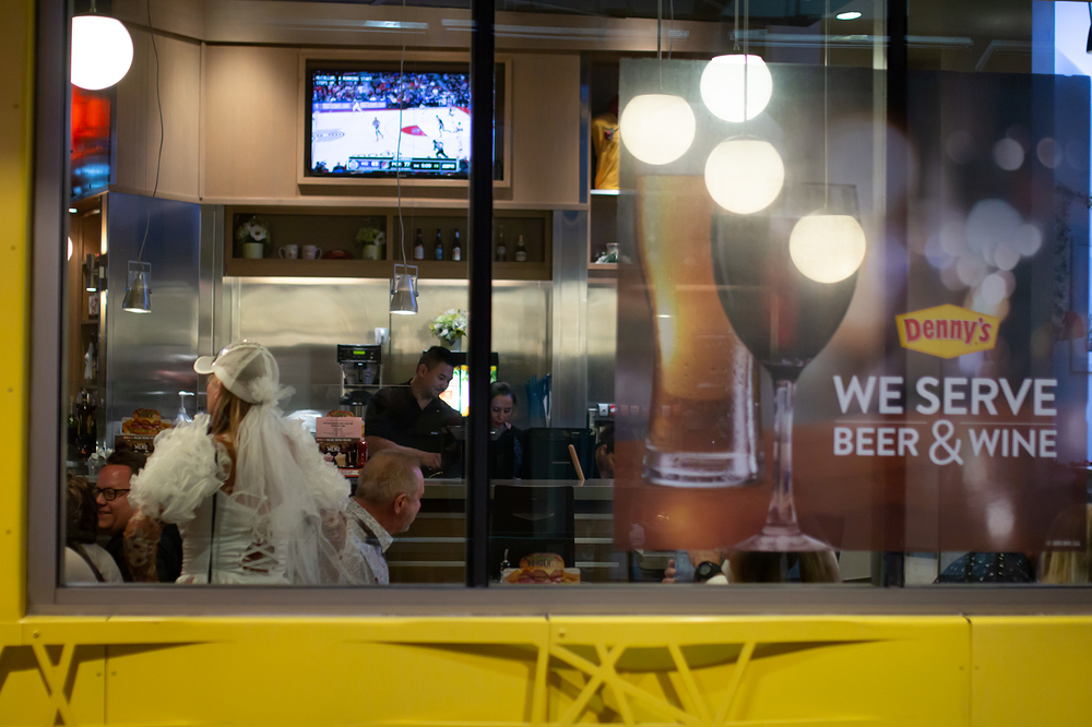 beer, wine and the bride in the baseball cap