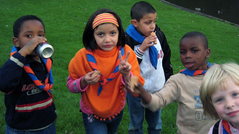 children in park eating ice cream