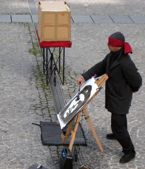 Blindfolded Artist in Paris