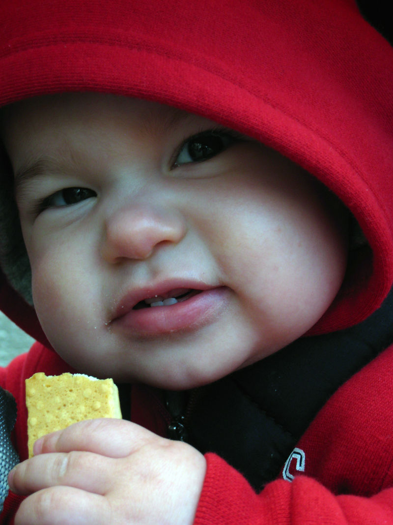baby in red jacket eating cracker