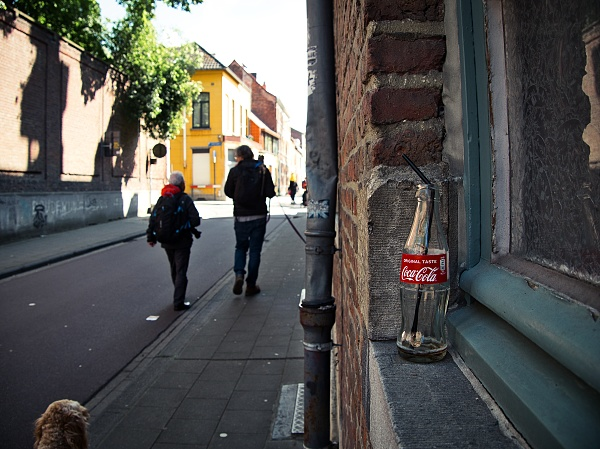 city, coke bottle, dog,