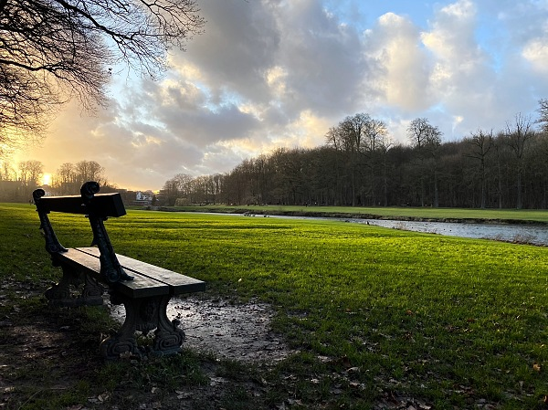 Tervuren park, bench, sunset, clouds