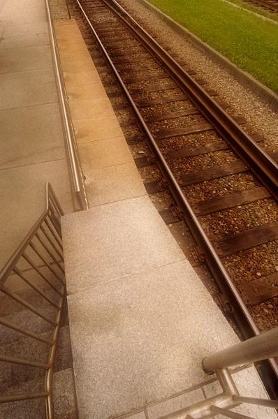 Railroad tracks and platform