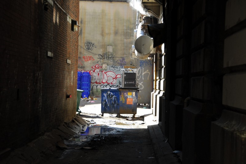 Trash in an alley