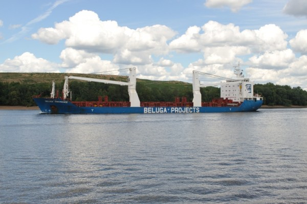 container ship on the Delware River