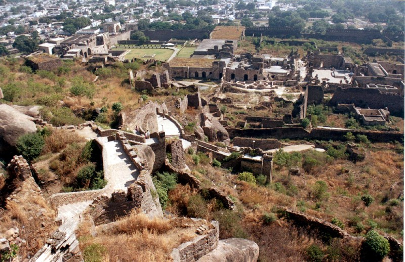 Golconda Fort as seen from the top.