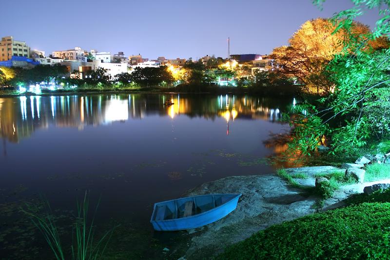 Lotus Pond, Hyderabad at night I