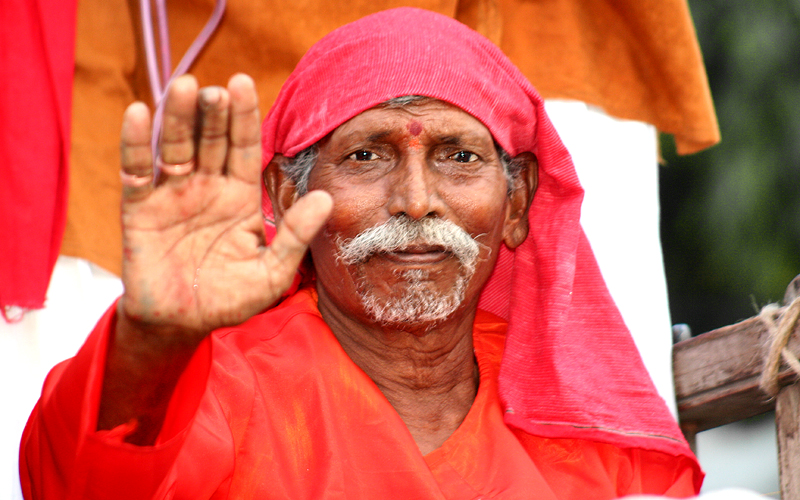 Dressed like Sai Baba at the Secunderabad Carnival