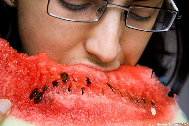 Eating watermelom
