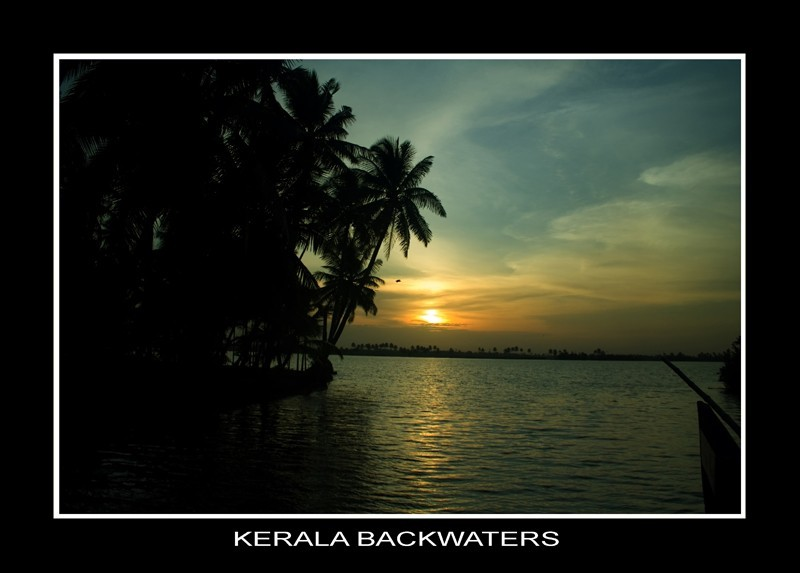 Sunset over Kerala's backwaters.