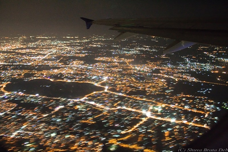 Hyderabad from the night sky.