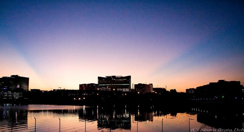 Sunset rays over Hitec City