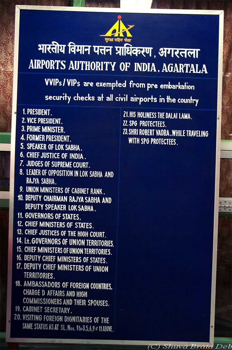 VVIPs who are exempted from checks at airports.