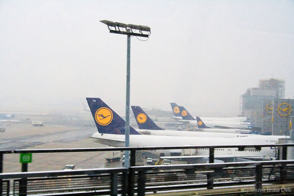 Frankfurt airport on a snowy day