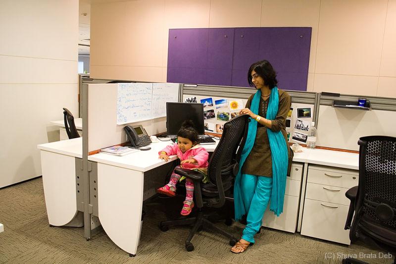 Tisha and Lipika at my desk at office