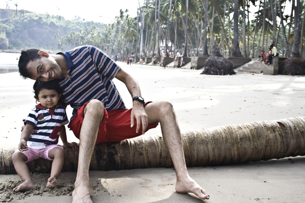 Tisha and Papa @  Corbyn's Cove Beach, Andaman