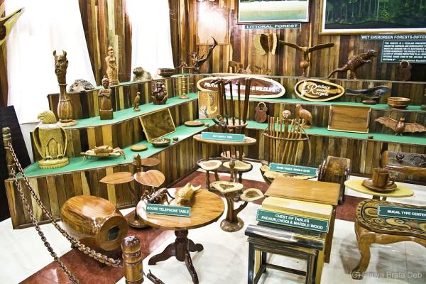 Wood display at the musuem