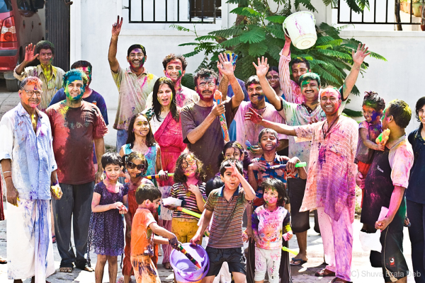 Neighbourhood celebrating Holi