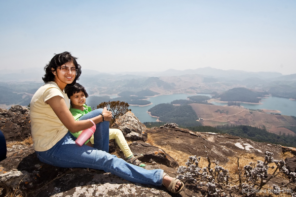 Lipika and Tisha overlooking Lake Emerald