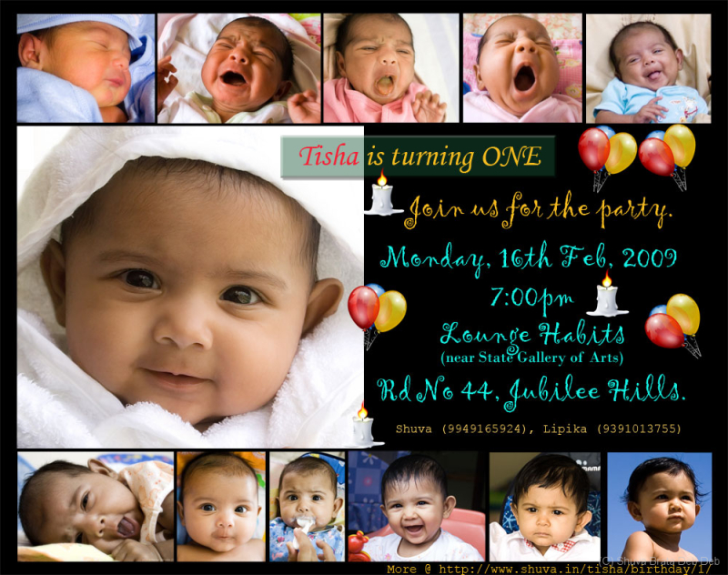 Tishas St Birthday Invitation People Portrait Photos - 1st birthday invitation indian card