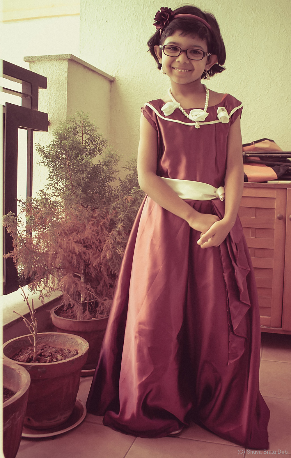 In her school act dress