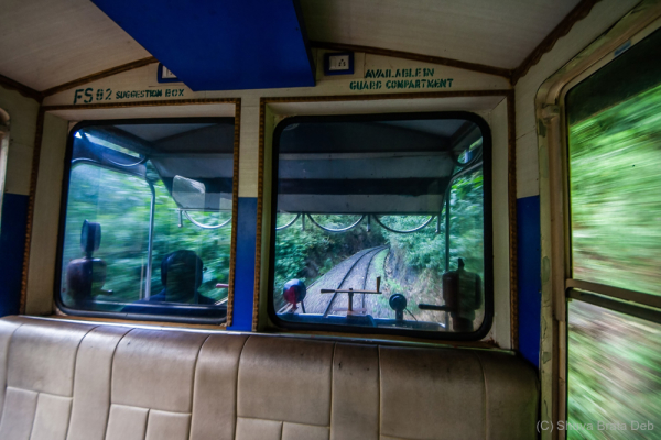 View from front of toy train